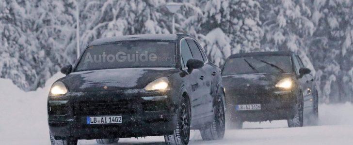 صور تجسسية لسيارة كايين التي بدأت شركة بورش بإختبارها في الأجواء الباردة