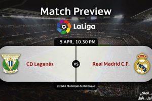 تقرير مباراة ريال مدريد وليغانيس ضمن مباريات الدوري الاسباني ليوم الأربعاء