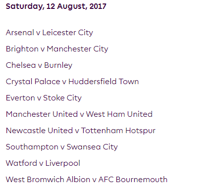 الجولة الأولى من الدوري الإنجليزي الممتاز 2018