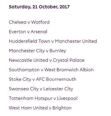 الجولة التاسعة من الدوري الإنجليزي الممتاز 2018