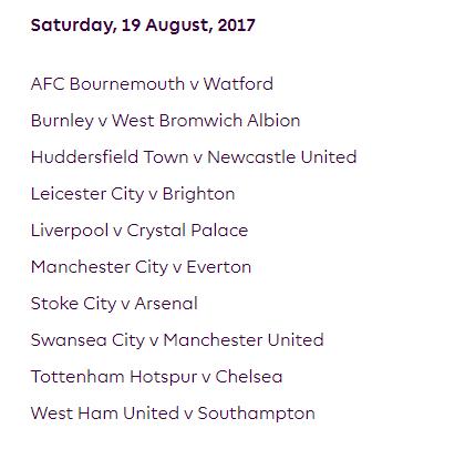 الجولة الثانية من الدوري الإنجليزي الممتاز 2018