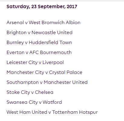 الجولة السادسة من الدوري الإنجليزي الممتاز 2018