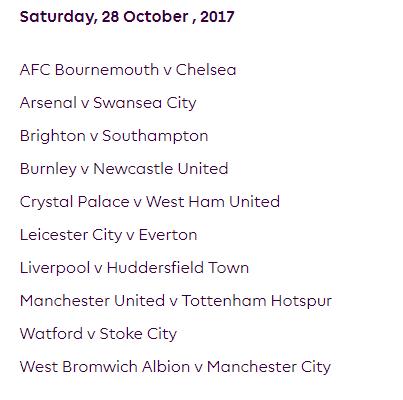 الجولة العاشرة من الدوري الإنجليزي الممتاز 2018