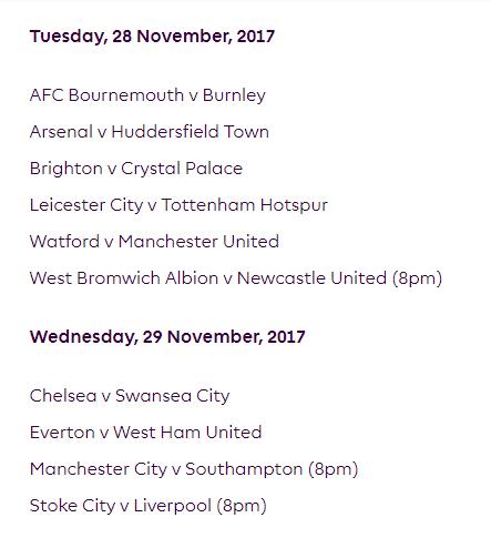 الجولة 14 من الدوري الإنجليزي الممتاز 2018