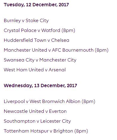 الجولة 17 من الدوري الإنجليزي الممتاز 2018