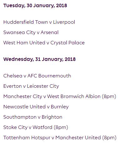 الجولة 25 من الدوري الإنجليزي الممتاز 2018