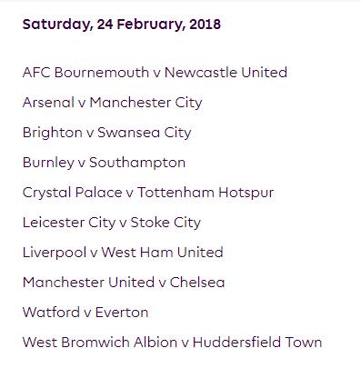 الجولة 28 من الدوري الإنجليزي الممتاز 2018