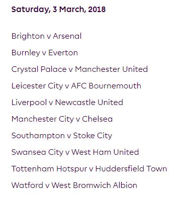 الجولة 29 من الدوري الإنجليزي الممتاز 2018