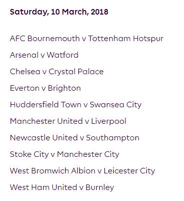 الجولة 30 من الدوري الإنجليزي الممتاز 2018