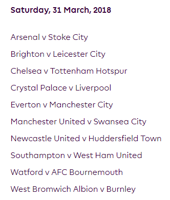 الجولة 32 من الدوري الإنجليزي الممتاز 2018