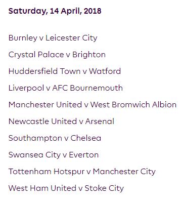 الجولة 34 من الدوري الإنجليزي الممتاز 2018
