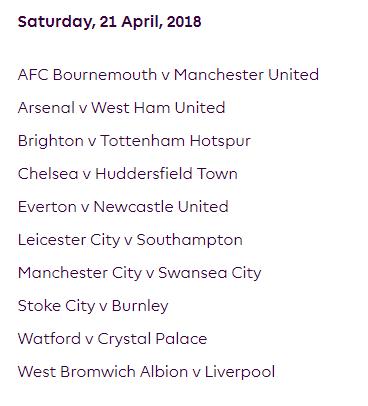الجولة 35 من الدوري الإنجليزي الممتاز 2018