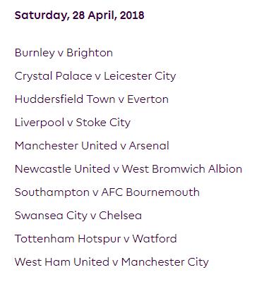 الجولة 36 من الدوري الإنجليزي الممتاز 2018