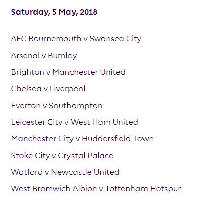 الجولة 37 من الدوري الإنجليزي الممتاز 2018