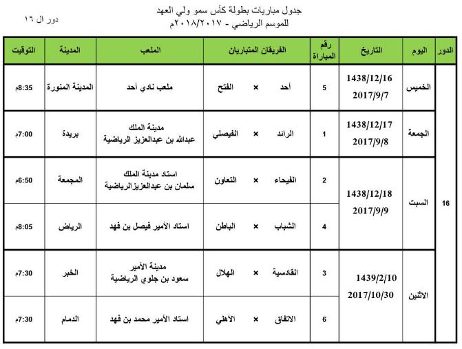 دور 16 من كأس ولي العهد السعودي 2017