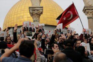 ظهور الرئيس التركي رجب طيب أردوغان في باحات المسجد الأقصى عقب صلاة الجمعة