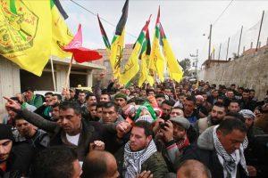 قرية عراق بورين تودع الشهيد الفلسطيني علي عمر قينو الذي استشهد برصاص الاحتلال أمس الخميس