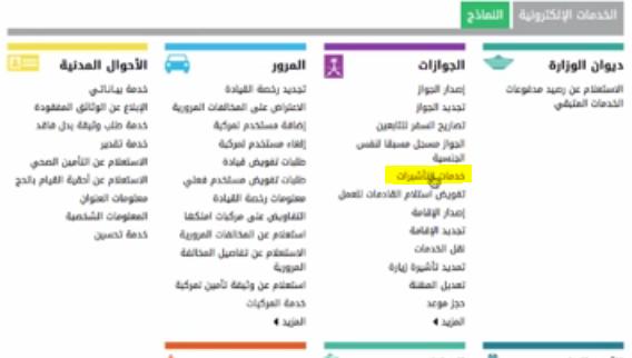 خدمة التاشيرات في الجوازات السعودية