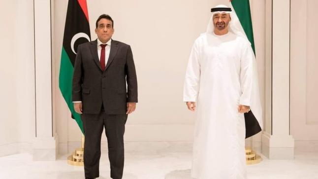 أكد محمد بن زايد للمنفي أن الإمارات ستدعم بثبات استقرار ليبيا
