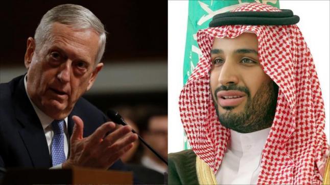 محمد بن سلمان ووزير الدفاع الأمريكي يؤكدان رفضهما الكامل للتدخل الإيراني في الشئون العربية
