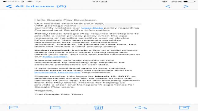 جوجل ترسل رسائل تطالب بتوفير سياسة الخصوصية ضمن التطبيقات عبر منصتها